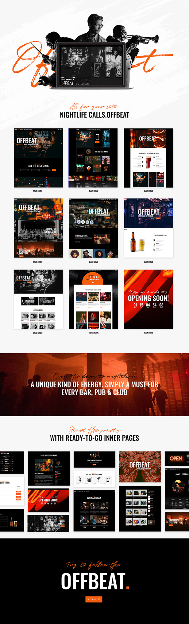 WordPress theme Offbeat - A Theme Made for Jazz Bars and Pubs (Nightlife)